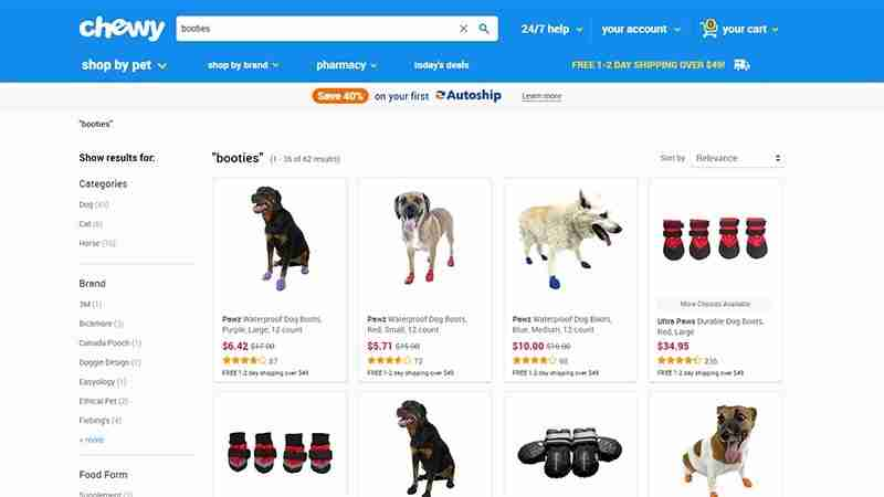 Screen shot of several types of dog booties at chewy